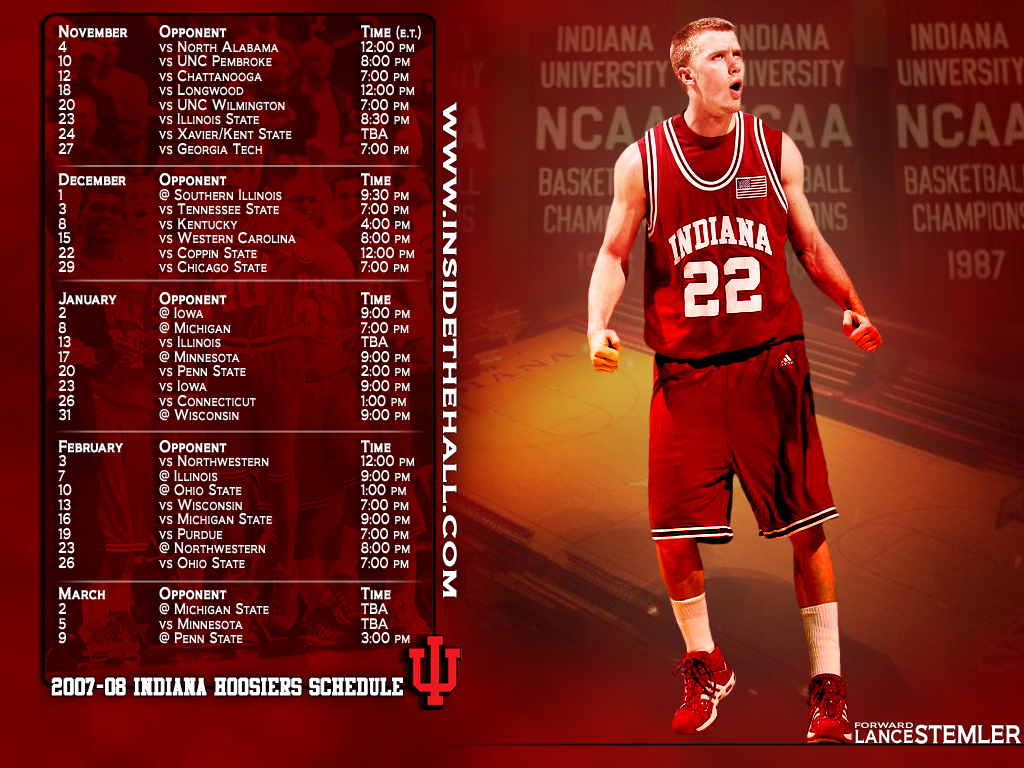 2007-2008 schedule desktop wallpaper - inside the hall | indiana