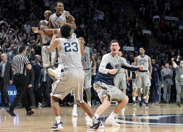 Feb 6, 2016; University Park, PA, USA; Penn State Nittany Lion players celebrate after defeating Indiana 68-63 at Bryce Jordan Center. Penn State defeated Indiana 68-63. Mandatory Credit: Matthew O'Haren-USA TODAY Sports