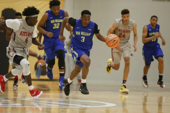 Westfield, IN - APRIL 22: Nike EYBL. Session 2. Matt Coleman #3 of Boo Williams dribbles. (Photo by Jon Lopez)