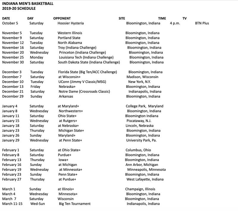 Indiana Announces 2019 2020 Basketball Schedule Inside The